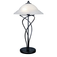Lite Source Majesty 2 Light CFL Table Lamp in Black with Cloud Glass Shade LS-3640BLK