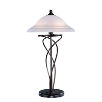 Lite Source Majesty 2 Light CFL Table Lamp in Dark Bronze with Cloud Glass Shade LS-3640D/BRZ