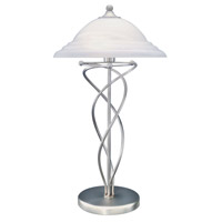 Lite Source Majesty 2 Light CFL Table Lamp in Satin Steel with Cloud Glass Shade LS-3640SS