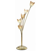 Lite Source Tulip 5 Light Table Lamp in Bronze with Light Amber Cloud Glass LS-3945BRZ