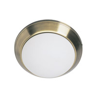 Lite Source Panorama 1 Light Flush Mount in Antique Brass with Frost Glass LS-5325AB