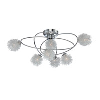 Lite Source Hallan 7 Light Flush Mount in Chrome with Aluminum and Glass Shade LS-5447