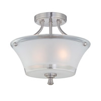 Lite Source Niccolo 2 Light Semi-Flush Mount in Polished Steel with Glass Shade LS-5732