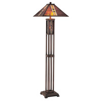 Lite Source Farah 3 Light CFL Floor Lamp in Dark Bronze with Tiffany Shade LS-80812