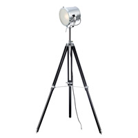 Trey 54 inch 13 watt Chrome and Black Floor Lamp Portable Light