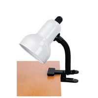 Lite Source Clip-on 1 Light CFL Clamp-on Lamp in White LSF-111WHT