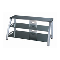 Lite Source LSH-5607 Arch 50 inch Silver Chrome and Black Glass TV Stand