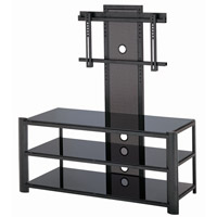 Lite Source LSH-5612BLK Burly 48 inch Black and Black Glass TV Stand