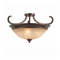 Series 1001 3 Light 20 inch Bronze Semi Flush Ceiling Light