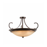 Lumenno International Series 1001 10 Light Semi Flush in Bronze with Hand Painted Tea Stained Glass 1001-01-38