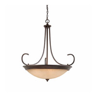 Lumenno International Series 1001 10 Light Pendant in Bronze with Hand Painted Tea Stained Glass 1001-02-38