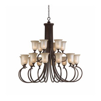Lumenno International Series 1001 18 Light Chandelier in Bronze with Hand Painted Tea Stained Glass 1001-03-18