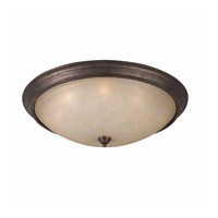 Lumenno International Series 1001 8 Light Flush Mount in Bronze with Hand Painted Tea Stained Glass 1001-06-32