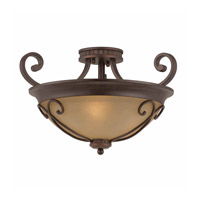 Series 1003 3 Light 20 inch Bronze Semi Flush Ceiling Light