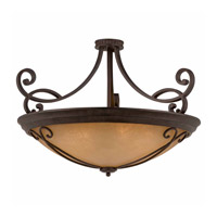 Lumenno International Series 1003 10 Light Semi Flush in Bronze with Tea Stained Glass 1003-01-35