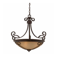 Lumenno International Series 1003 4 Light Pendant in Bronze with Tea Stained Glass 1003-02-26