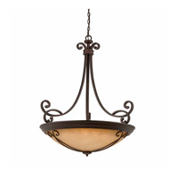 Lumenno International Series 1003 10 Light Pendant in Bronze with Tea Stained Glass 1003-02-35