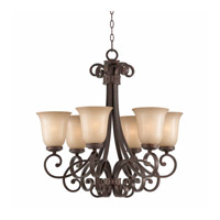 Lumenno International Series 1003 6 Light Chandelier in Bronze with Tea Stained Glass 1003-03-06