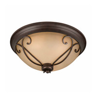 Lumenno International Series 1003 3 Light Flush Mount in Bronze with Tea Stained Glass 1003-06-17