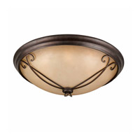 Lumenno International Series 1003 8 Light Flush Mount in Bronze with Tea Stained Glass 1003-06-32