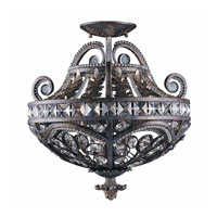 Prague 3 Light 18 inch Bronze with Gold and Silver Wash Semi-Flushmount Ceiling Light, Pendant Convertible
