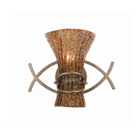 Lumenno International Series 2000 1 Light Wall Sconce in Bronze Patina with Amber Tinted Pastra Glass 2000-00-01