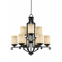 Lumenno International Series 2001 9 Light Chandelier in Textured Black with Candle Like Tea Stained Scavo Glass 2001-03-09