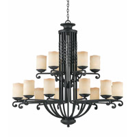 Lumenno International Series 2001 18 Light Chandelier in Textured Black with Candle Like Tea Stained Scavo Glass 2001-03-18