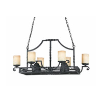 Lumenno International Series 2001 8 Light Island Light in Textured Black with Candle Like Tea Stained Scavo Glass 2001-07-08
