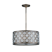 Lumenno International Series 2002 3 Light Pendant in Hand Painted Weathered Bronze with Crystal Accent 2002-02-19