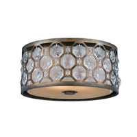 Lumenno International Series 2002 2 Light Flush Mount in Hand Painted Weathered Bronze with Crystal Accent 2002-06-15