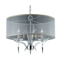 Lumenno International Series 2003 3 Light Pendant in Chrome Plated with Sheer Fabric Drum Shade and Acrylic Accents with Crystal Drops and 2003-02-22
