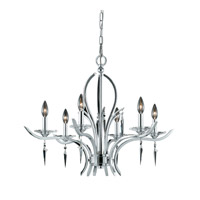 Lumenno International Series 2003 6 Light Chandelier in Chrome Plated with Acrylic Accents with Crystal Drop 2003-03-06