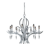 Lumenno International Series 2003 8 Light Chandelier in Chrome Plated with Acrylic Accents with Crystal Drop 2003-03-08