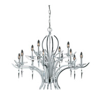 Lumenno International Series 2003 12 Light Chandelier in Chrome Plated with Acrylic Accents with Crystal Drop 2003-03-12