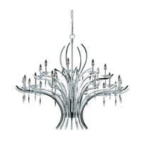 Lumenno International Series 2003 24 Light Chandelier in Chrome Plated with Acrylic Accents with Crystal Drop 2003-03-24