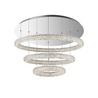 Bellini LED 31 inch Chrome with Crystal Pendant Ceiling Light, Convertible To Flush Mount