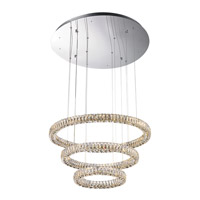 Alize LED 32 inch Chrome with Crystal Pendant Ceiling Light, Convertible To Flush Mount