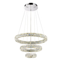 Alize LED 32 inch Chrome with Crystal Pendant Ceiling Light