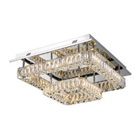 Lumenno 26419 Gibson LED 19 inch Chrome with Crystal Flushmount Ceiling Light, Square