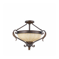 Venus 3 Light 24 inch English Bronze Semi Flush Mount Ceiling Light