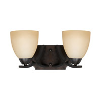 Lumenno International Series 8000 2 Light Bath in  Bronze with Tea Stained Glass 8000-00-02