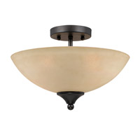 Lumenno International Series 8000 2 Light Semi Flush in  Bronze with Tea Stained Glass 8000-01-14