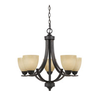 Lumenno International Series 8000 5 Light Chandelier in  Bronze with Tea Stained Glass 8000-03-05