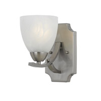 Lumenno International Series 8001 1 Light Wall Sconce in Satin Nickel with White Swirl Alabaster Glass 8001-00-01