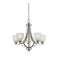 Lumenno International Series 8001 5 Light Chandelier in Satin Nickel with White Swirl Alabaster Glass 8001-03-05
