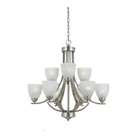 Lumenno International Series 8001 9 Light Chandelier in Satin Nickel with White Swirl Alabaster Glass 8001-03-09