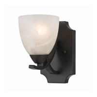 Lumenno International Series 8002 1 Light Wall Sconce in  Bronze with White Swirl Alabaster Glass 8002-00-01