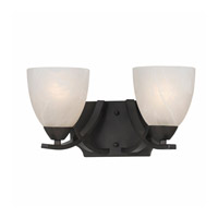 Lumenno International Series 8002 2 Light Bath in  Bronze with White Swirl Alabaster Glass 8002-00-02