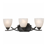 Lumenno International Series 8002 3 Light Bath in  Bronze with White Swirl Alabaster Glass 8002-00-03